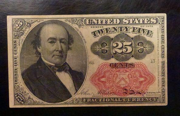 1874 TWENTY-FIVE Cents Fractional 5th Issue  FR 1308 Long Key