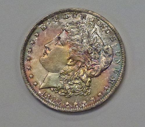 1883-O MORGAN Silver Dollar MONSTER RAINBOW natural pattern toning
