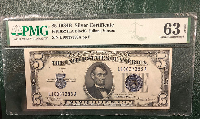 1934B $5 Silver Certificate LA Block - PMG Graded 63 Choice Uncirculated