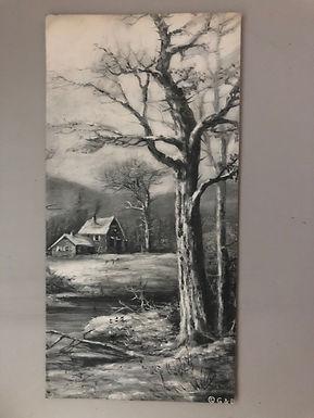 vintage 1915 postcard Black & White winter scene drawing