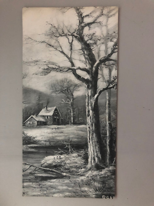 vintage 1915 postcard Black & White winter scene drawing