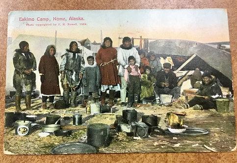 1912 Inuit - Eskimos Camp in Nome RARE postmark St. Michael Alaska