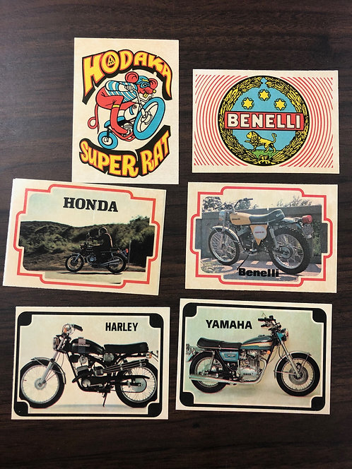 Motorcycle Stickers -set of 6 from 1973