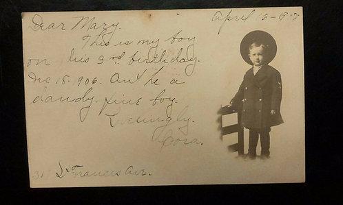 Antique postcard 1907 CAMEO Portrait RPPC Young Boy Hat &Jacket - Wichita Kansas