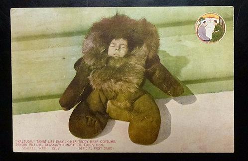 VINTAGE 1909 ESKIMO Village Postcard Eskimo Village, World's Fair Seattle