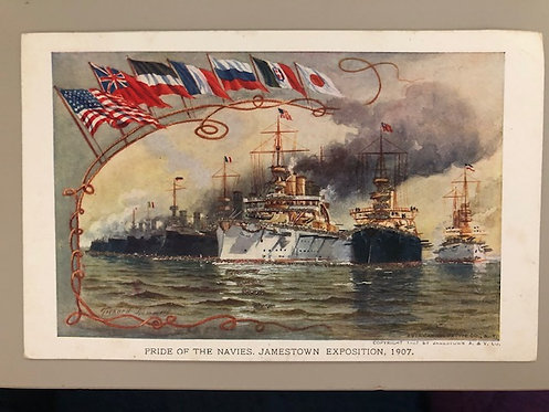 """US 1907 Jamestown Exposition Official Souvenir Post Card """"Pride of the Navies"""""""