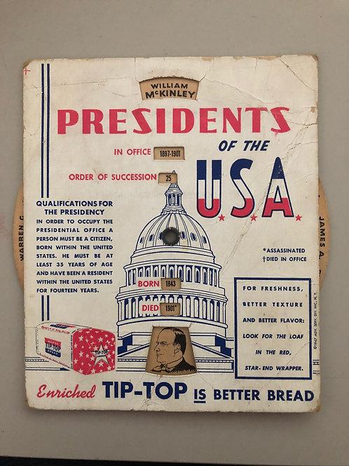 1947 Presidents of the USA, Tip-Top Bread Advertising Washington to Truman