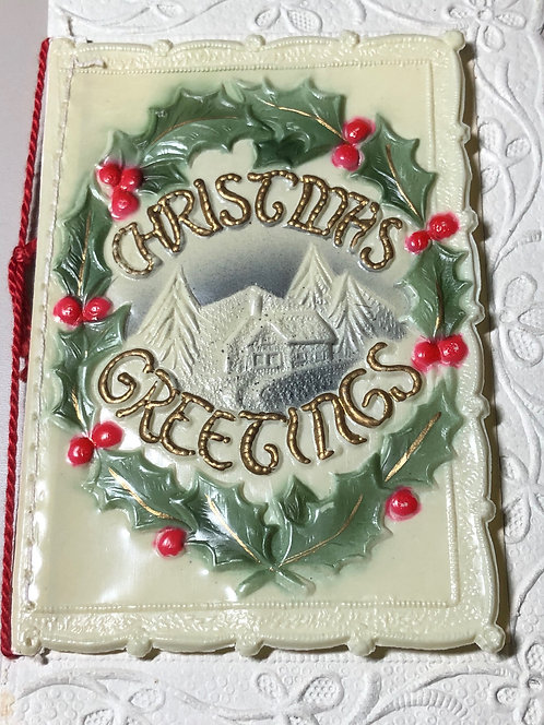 Antique Christmas Card - RARE Embossed, tied with string, Made in Germany