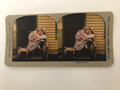 """Antique 1900's Stereoview """"Stolen Sweets"""" Couple kissing- Dog hiding under Skirt"""