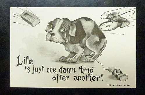 "VINTAGE Comic Dog ""Life is Just One Damn Thing After Another"" Postcard"