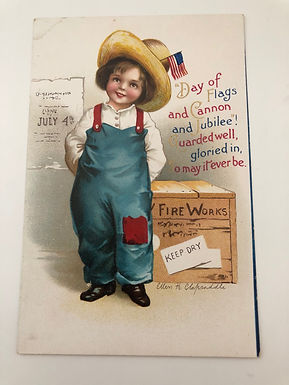 """Antique Ellen Clapsaddle 4th of July Postcard """"Day of Flags & Cannon & Jubiee!"""""""
