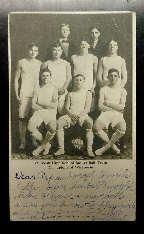 1907 OSHKOSH High School BasketBall Team Wisconsin CHAMPIONS RPPC