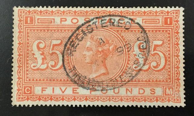 GREAT BRITAIN, #93, 1882, £5 brt. org., FVF, Used. CV $5000.00.