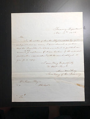 1838 hand written Letter by Levi WOODBURY Secretary of TREASURY, Supreme Court