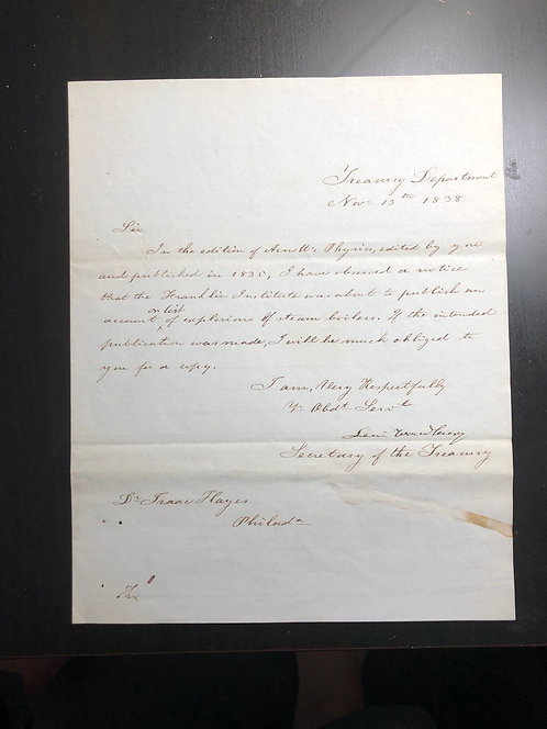 1838 hand written Letter by Levi WOODBURY Secretary of TREASURY, Supreme Court