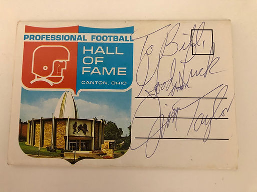 Packers Running Back Jim Taylor Autographed Football Hall of Fame Postcard