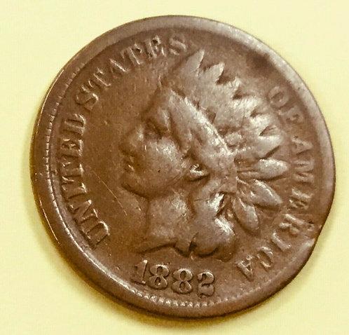 1882 Indian Cent ERROR  VG Small Rim Clip