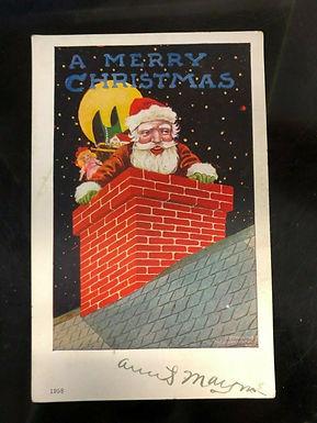 Christmas postcard made by Ullman 1907 print of Santa Claus DOWN THE CHIMNEY
