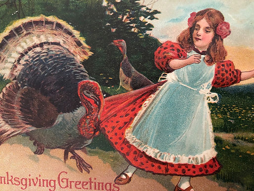 Antique 1900's Thanksgiving Greetings Postcard CUTE Little girl and TURKEYS