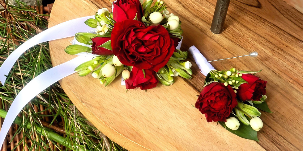 Red Corsage + Boutonniere Purchase $30