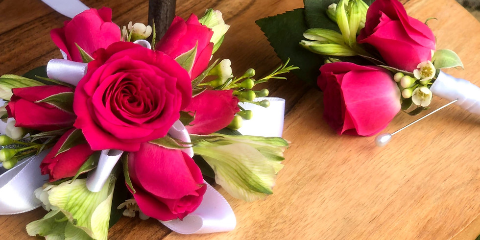 Pink Corsage + Boutonniere Purchase $30