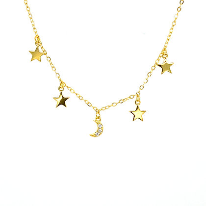 Gold Star & Crystal Moon Necklace