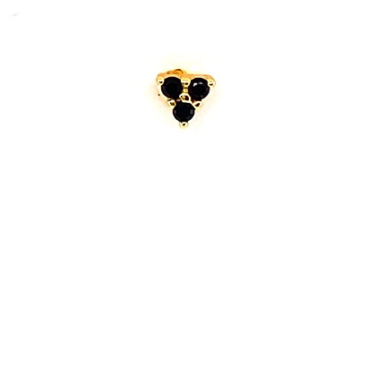 Single Mini Black Trinity Crystal Stud