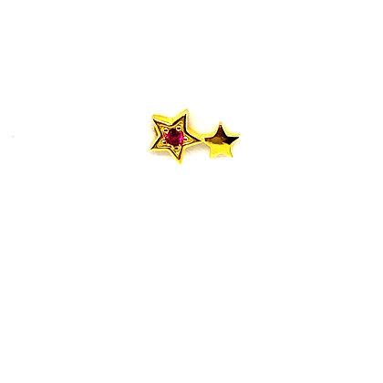 Single Double Pink Star Stud