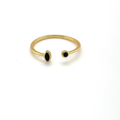 Tear Drop & Black Stone Adjustable Ring