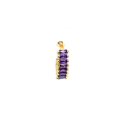 Single Purple Baguette Crystal Huggie