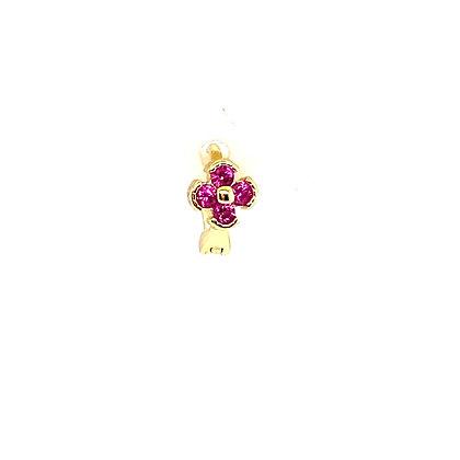 Single Pink Mini Flower Crystal Huggie