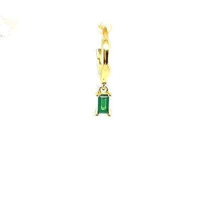 Single Emerald Green Baguette Charm Huggie