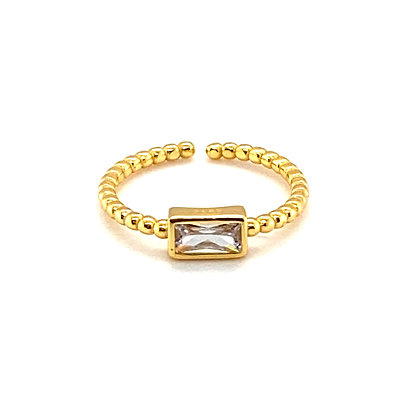 Gold Beaded Baguette Crystal Adjustable Ring