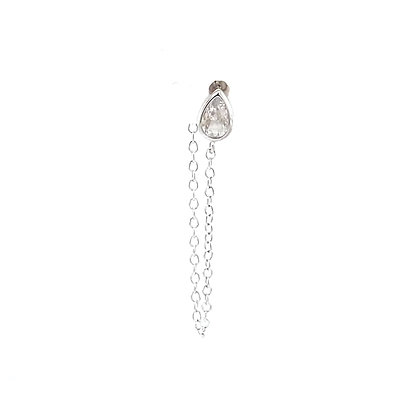 Single Silver Crystal Tear Drop Stud Chain
