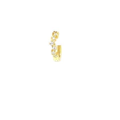 Single Gold Crystal Waved Huggie