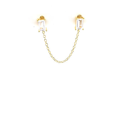 Double Baguette Stud Chain