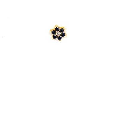 Single Black Flower Stud