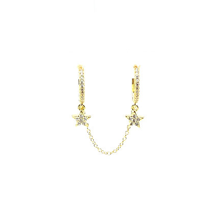 Double Lolita Star Huggie Chain Earring