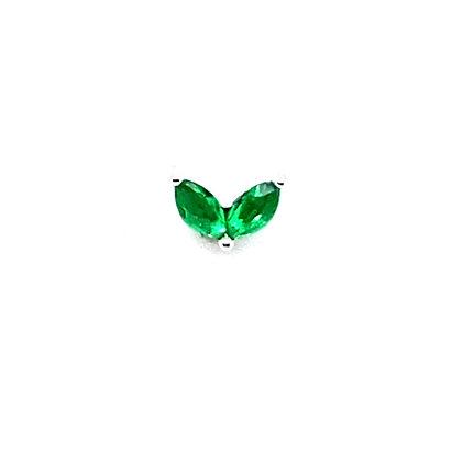 Single Green Crystal Vintage Heart Stud