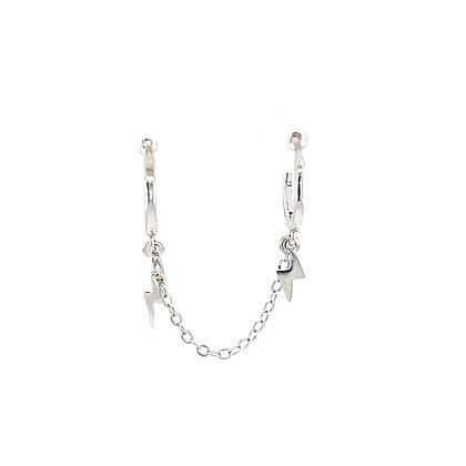 Double Piercing Silver Lightning Chain Huggie