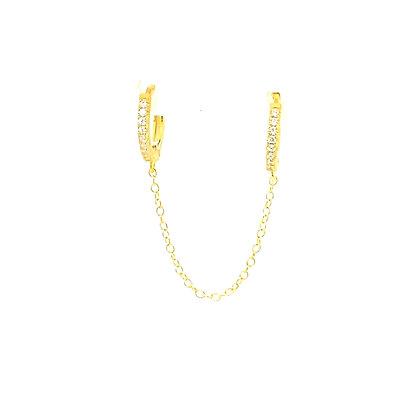 Double Crystal Huggie Chain Earring