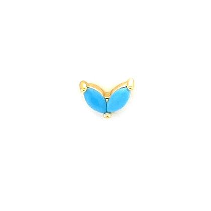 Single Turquoise Crystal Vintage Heart Stud