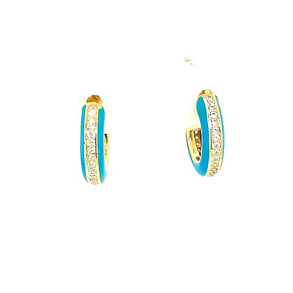 Pair Of Gold Turquoise Enamel Crystal Small Stud Hoops