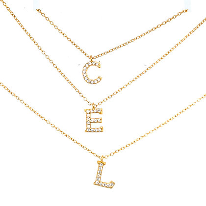 Initial Gold Crystal Necklace