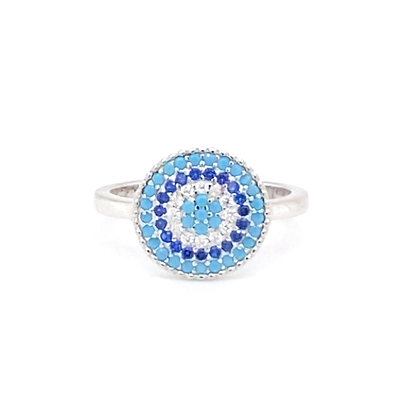 Silver Turquoise Crystal Evil Eye Circle Ring