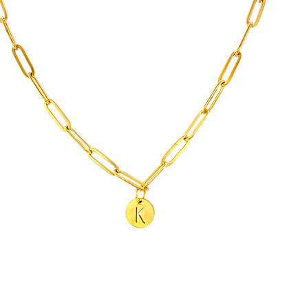 Initial Gold Paperclip Chain Choker