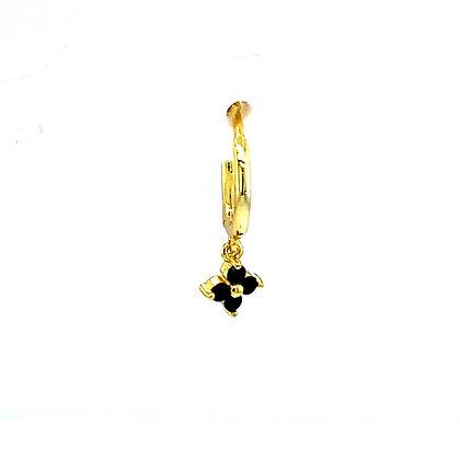 Single Black Crystal Flower Huggie