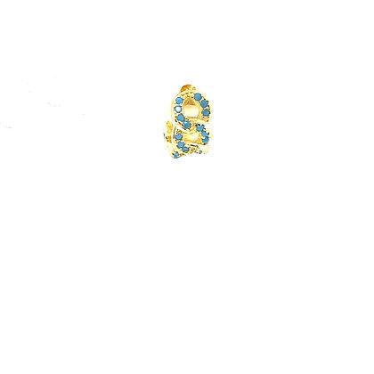 Single Turquoise Crystal Chain Huggie
