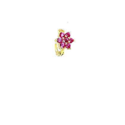 Single Lily Pink Mini Flower Huggie