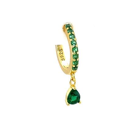 Single Emerald Green Full Crystal Charm Huggie